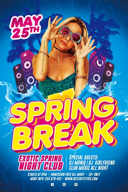 Spring Break Party Free Flyer Template  Best Of Flyers