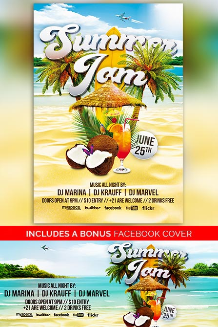 SUMMER JAM FREE POSTER AND FLYER TEMPLATE