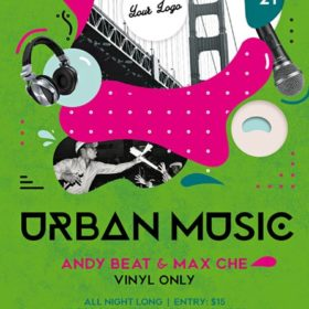 Urban Music Party Free Flyer and Poster Template for Club Party Events
