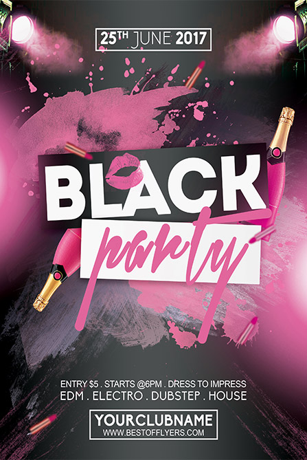 Black Party Night Poster Template - Best Of Flyers