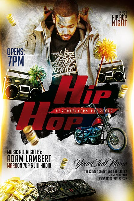 Hip Hop Night Free Poster And Flyer Template Free Album