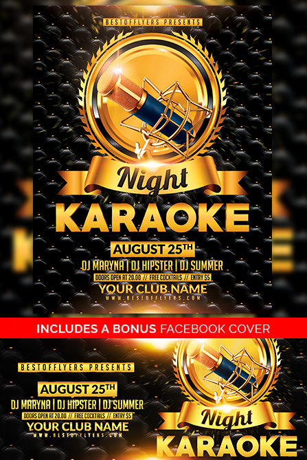 Karaoke Night Free Poster Template  Best Of Flyers