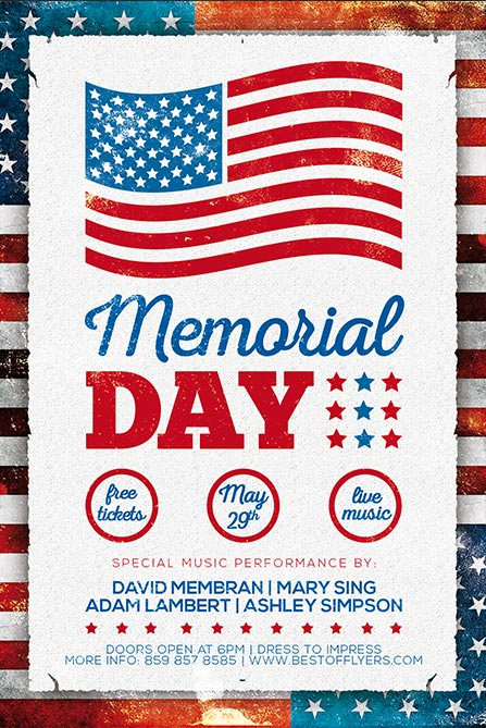 Memorial Day Poster Template  Best Of Flyers
