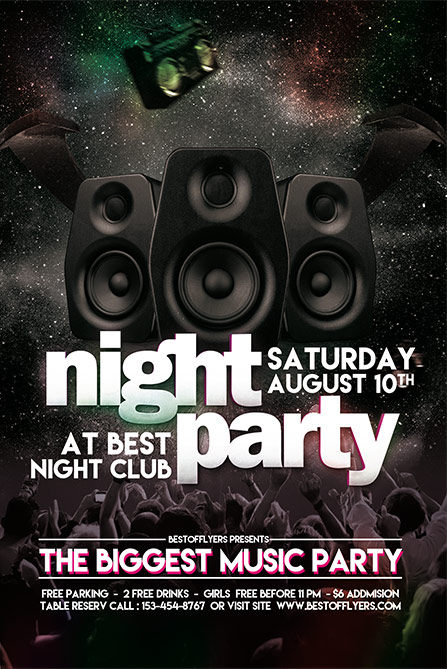 party night free poster and flyer template download free flyer designs. Black Bedroom Furniture Sets. Home Design Ideas
