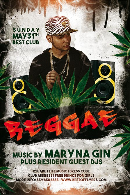 DOWNLOAD REGGAE PARTY FREE FLYER AND POSTER TEMPLATE
