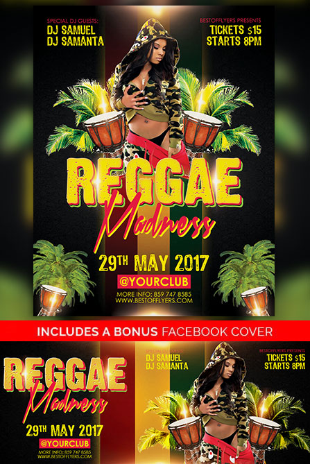 REGGAE MADNESS FREE POSTER TEMPLATE