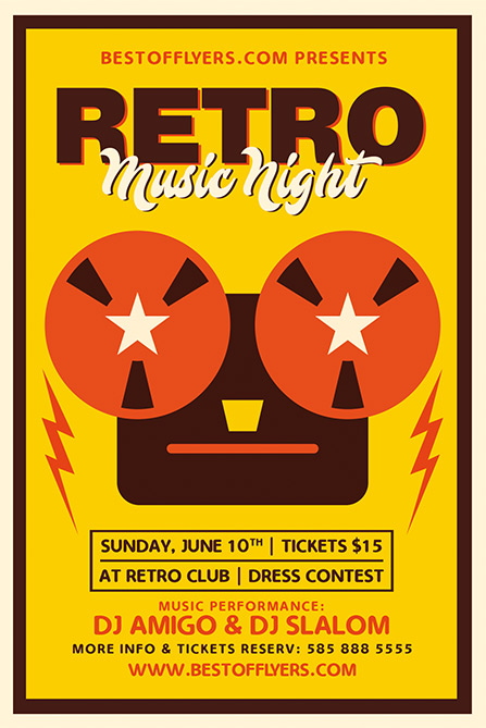 Retro Music Night Free Poster Template Best Of Flyers