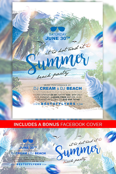 Summer Party Free Poster And Flyer Template For Club Events