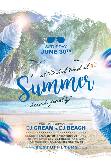 Summer party free poster and flyer template for club and party events home club flyers saigontimesfo