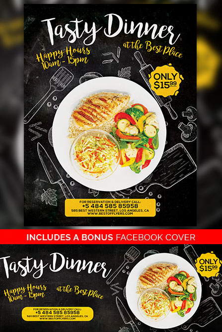 Tasty Dinner Free Poster Template  Best Of Flyers