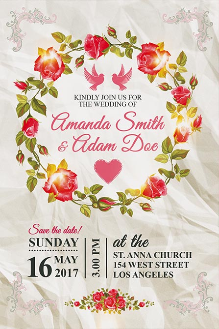 Wedding Invitation FREE Poster Template - Best of Flyers