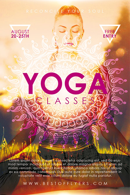 Download the Yoga Classes Free Poster and Flyer Template for Photoshop