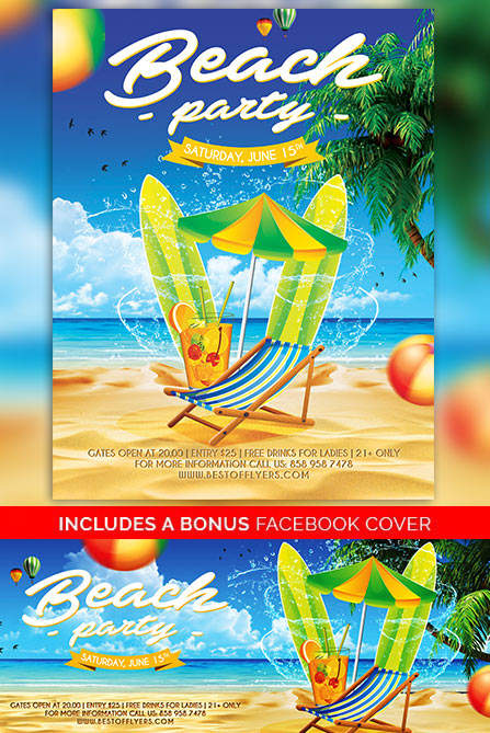 Beach Party Poster Template  Best Of Flyers