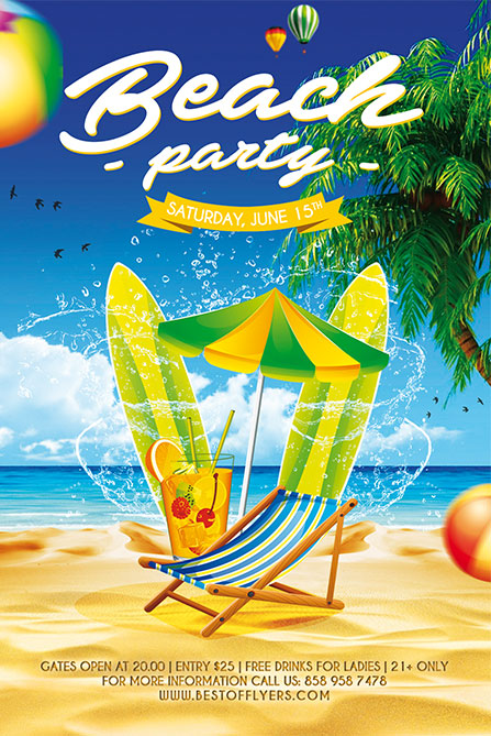 Beach Party Free Poster Template Download Summer Flyer Designs