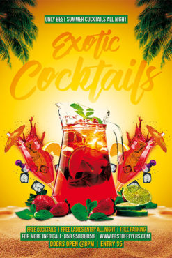 Exotic Cocktails Free Poster Template