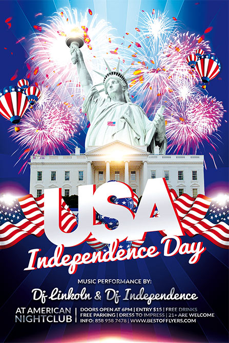 Independence Day Flyer | Independence Day Free Poster Template For 4th Of July Celebration Events