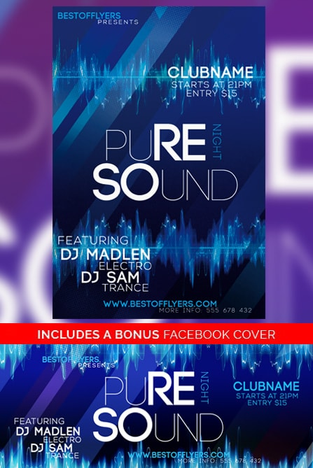Pure Sounds Night Free Flyer Template Free Electro Flyer Templates