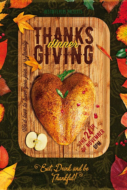 Thanksgiving Dinner Poster and Flyer PSD Template