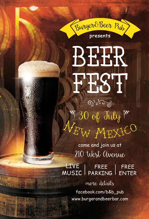 Beer Fest Free Pub Flyer Template - Freebies for Bar and Pub Events