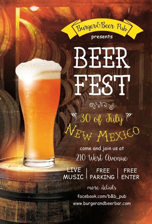 beer fest free pub flyer template freebies for bar and pub events