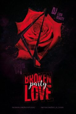 Broken Love Party Free Flyer Template