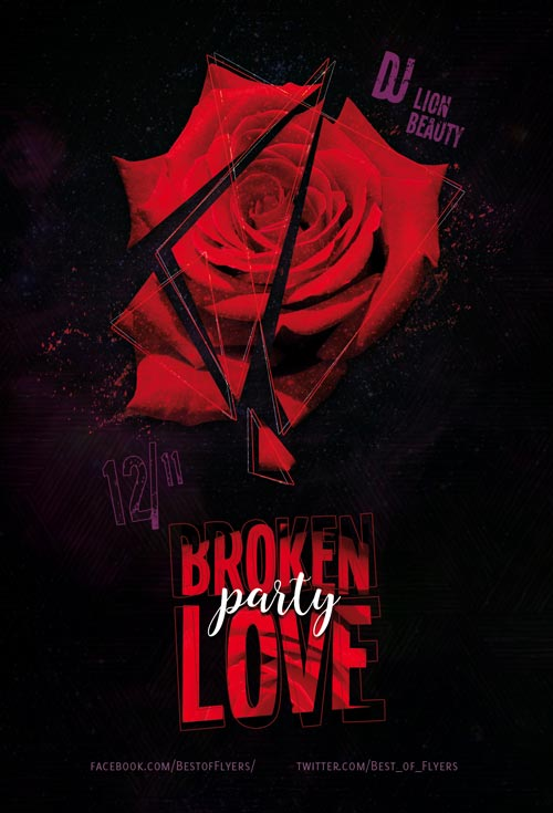 Broken Love Party Free Flyer Template