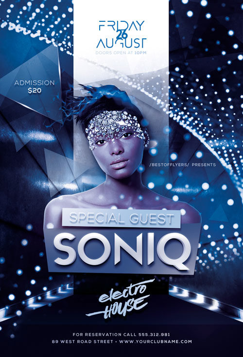DJ Soniq Electro House Free Flyer Template for Electro Parties
