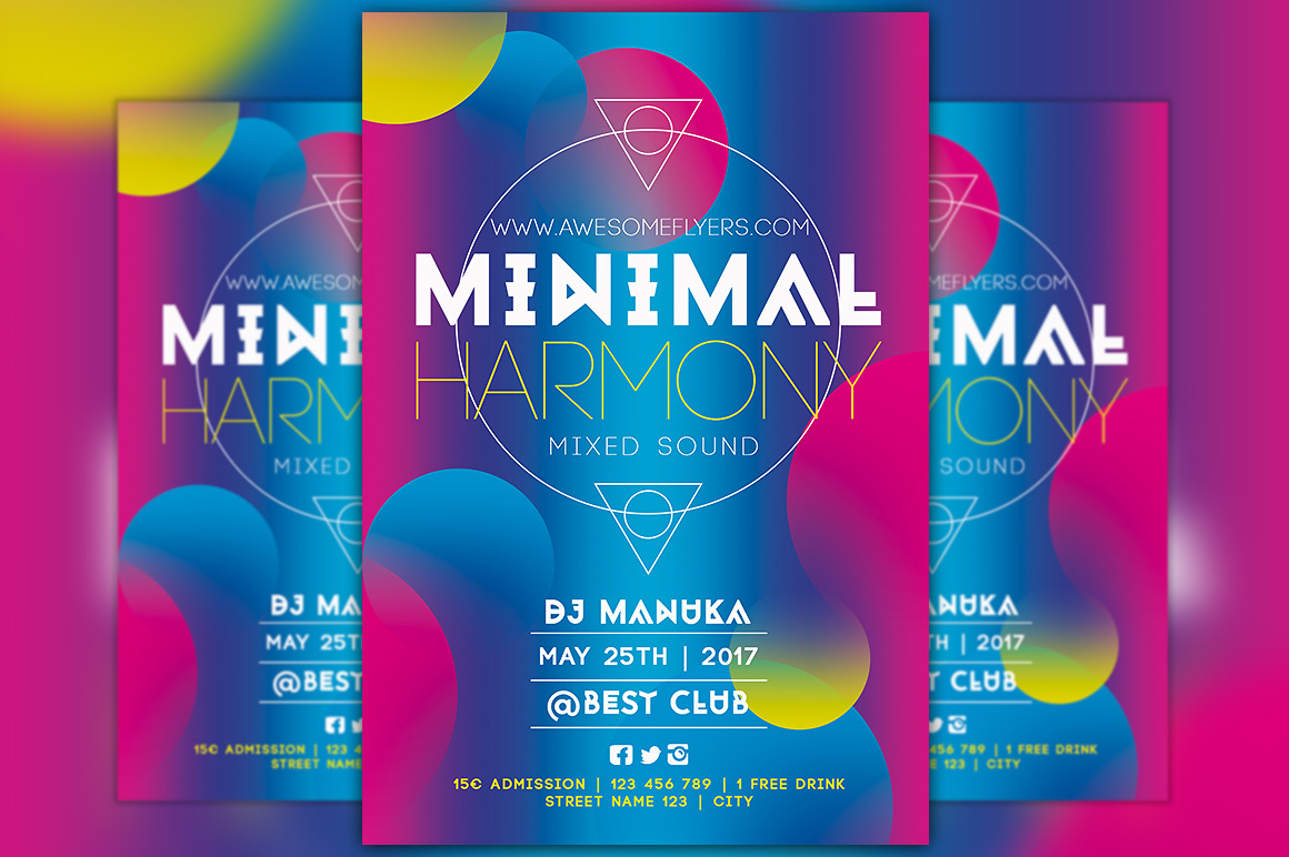 minimal harmony free flyer template for electro parties
