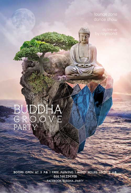 Buddha Groove Party Free Flyer and Mixtape Template