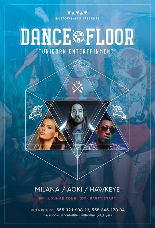 Dance Floor Party Free Flyer Template
